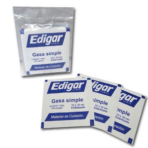 Gasa Simple Esterilizada 10X10 Edigar con 10 piezas