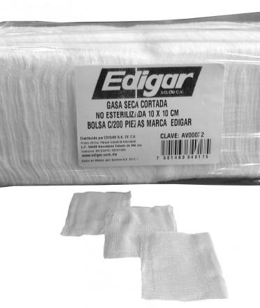 Gasa seca cortada no estéril de algodón 10 x 10 cm Edigar