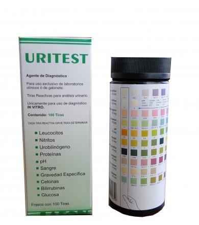 Tiras reactivas para urianálisis de 10 parámetros Uritest